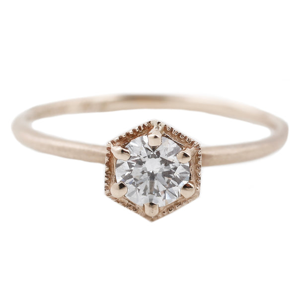 Satomi Kawakita Hexagon White Gold White Diamond Ring
