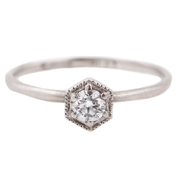 Satomi Platinum Diamond Hexagon Ring