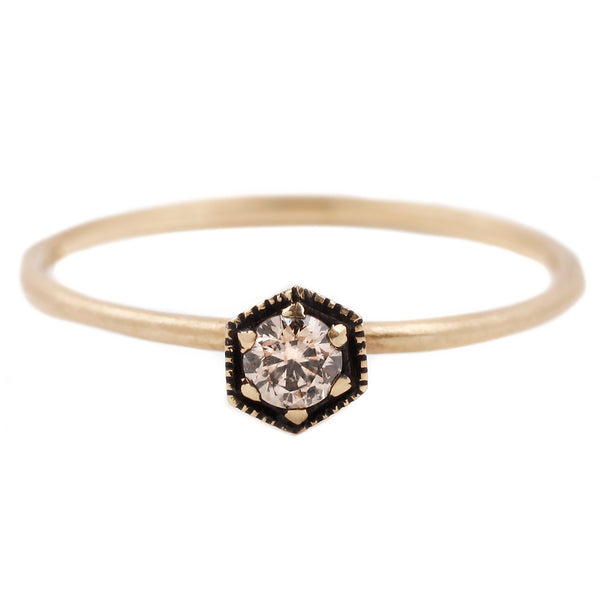Satomi Kawakita Brown Diamond Yellow Gold Hexagon Ring