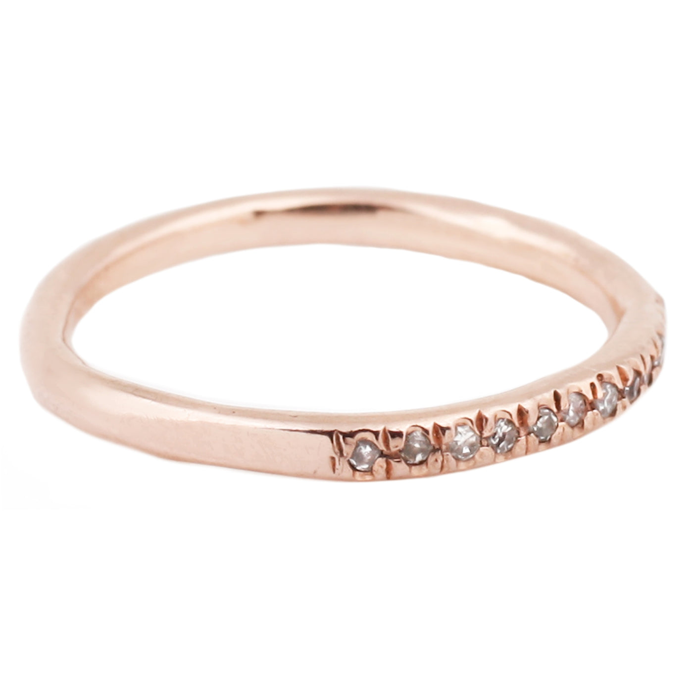 Lauren Wolf Rose Gold Half Eternity Ring Pave White Diamonds