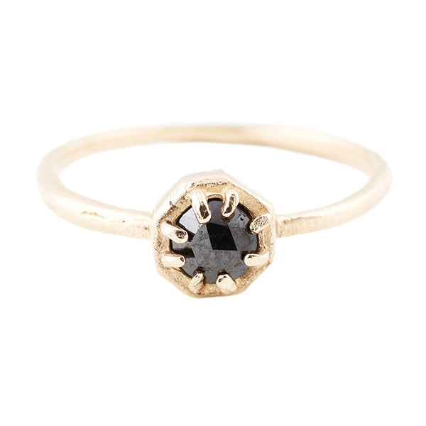 Small Black Diamond Gold Ring