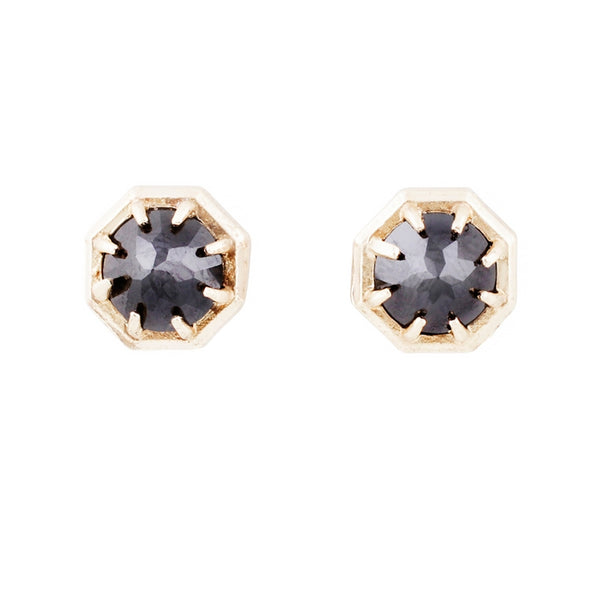 Lauren Wolf Black Spinel Gold Studs Yellow Gold