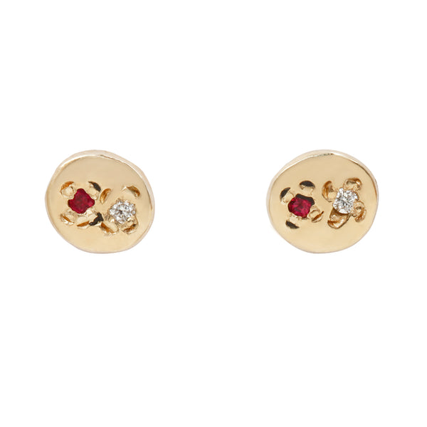 Scosha Ruby Diamond Circle Studs