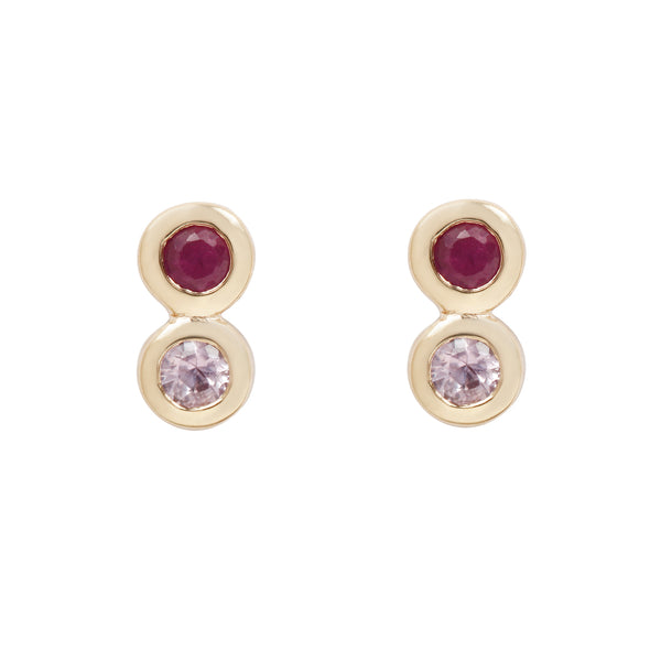 Scosha Rosé Infinity Studs - Sapphire and Ruby Studs Set in Yellow Gold