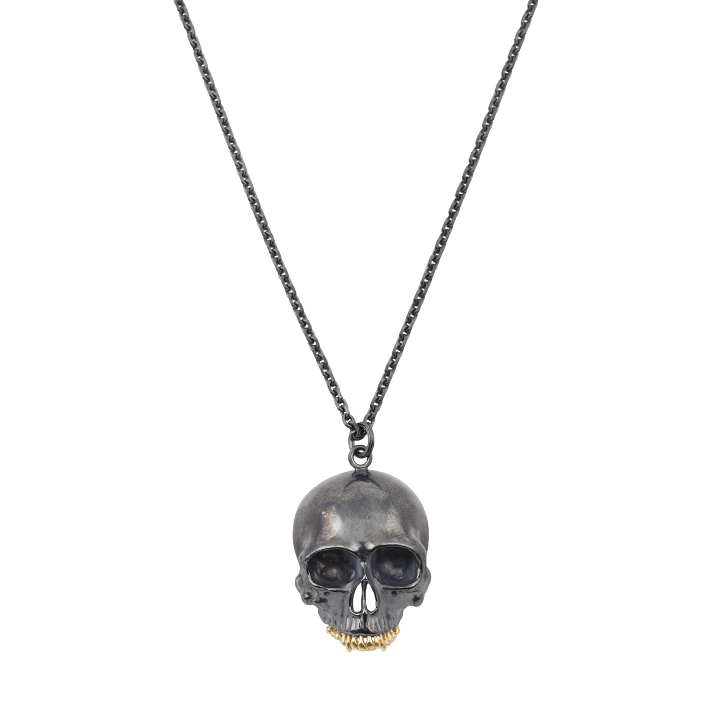 Anthony Lent oxidized sterling silver black skull pendant necklace