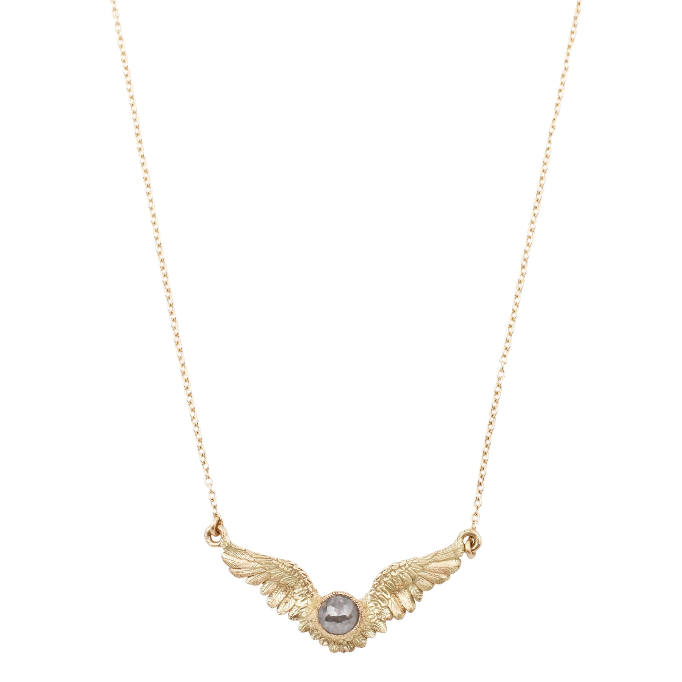 Anthony Lent Flying Diamond Necklace featuring a gray, rose cut diamond.