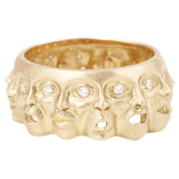 Anthony Lent Emotions Ring 18k yellow gold ring featuring emotional faces with diamond eyes