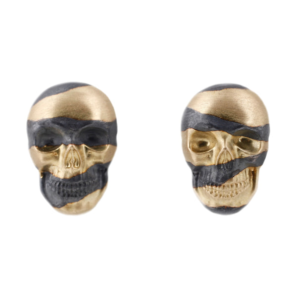 Anthony Lent Inlay Skull Studs