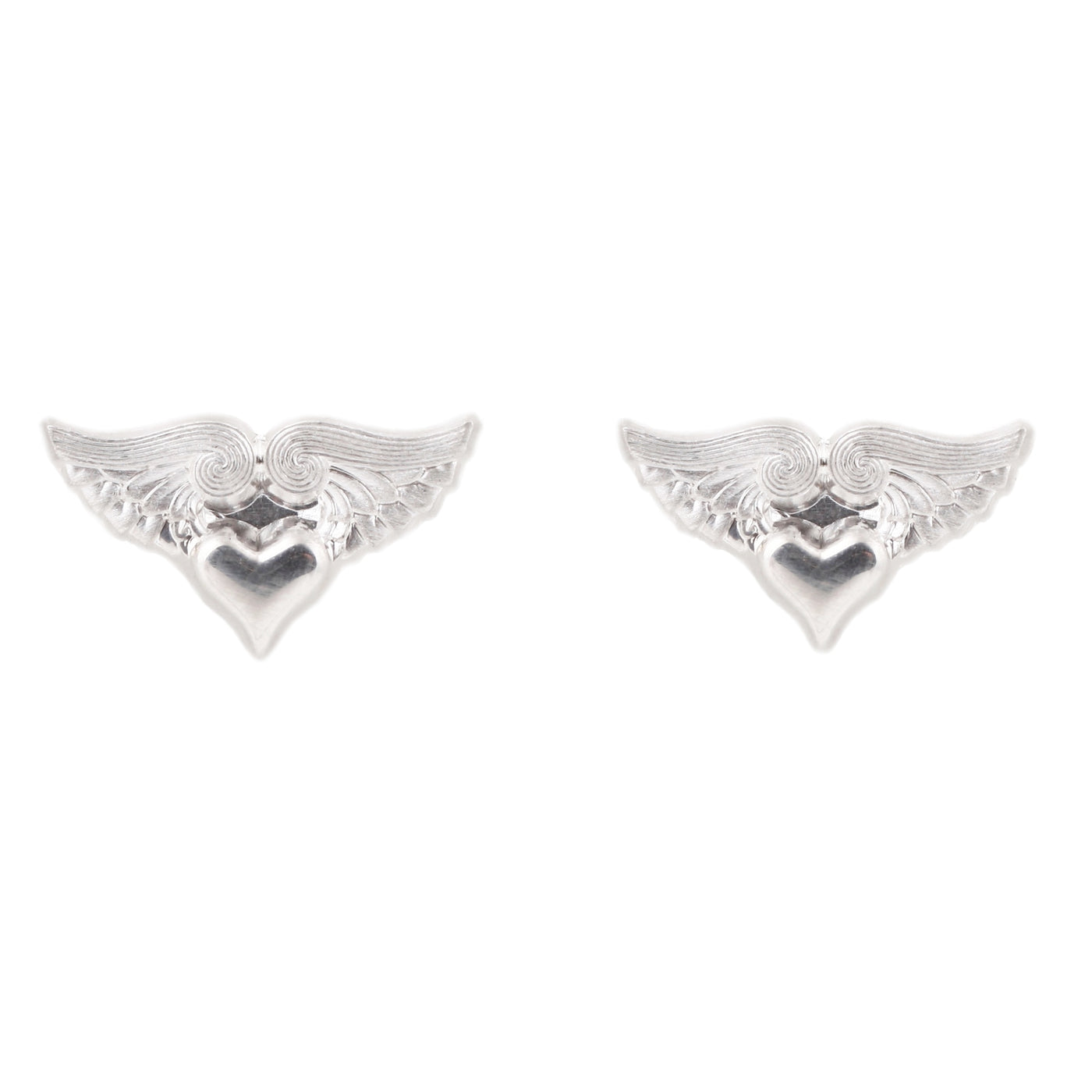 Anthony Lent Silver Flying Heart Stud Earrings