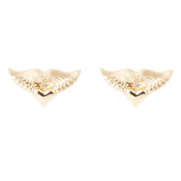 Anthony Lent Gold Flying Heart stud earrings