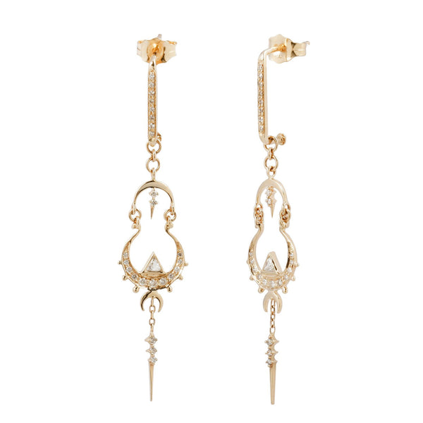 Celine D'Aoust Triangle Diamond Mandala Earrings
