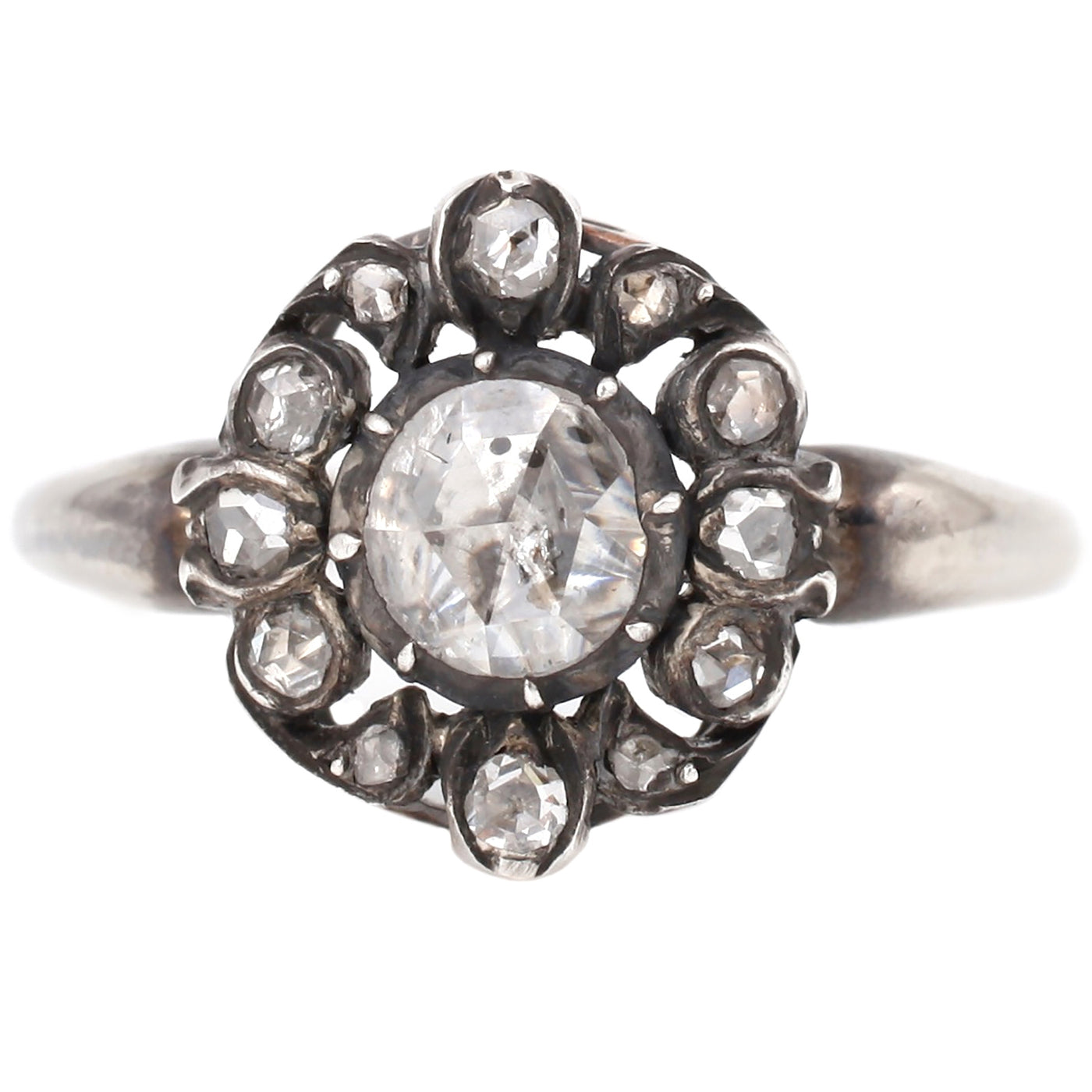 Vintage Diamond Floral Cluster Ring in White Gold