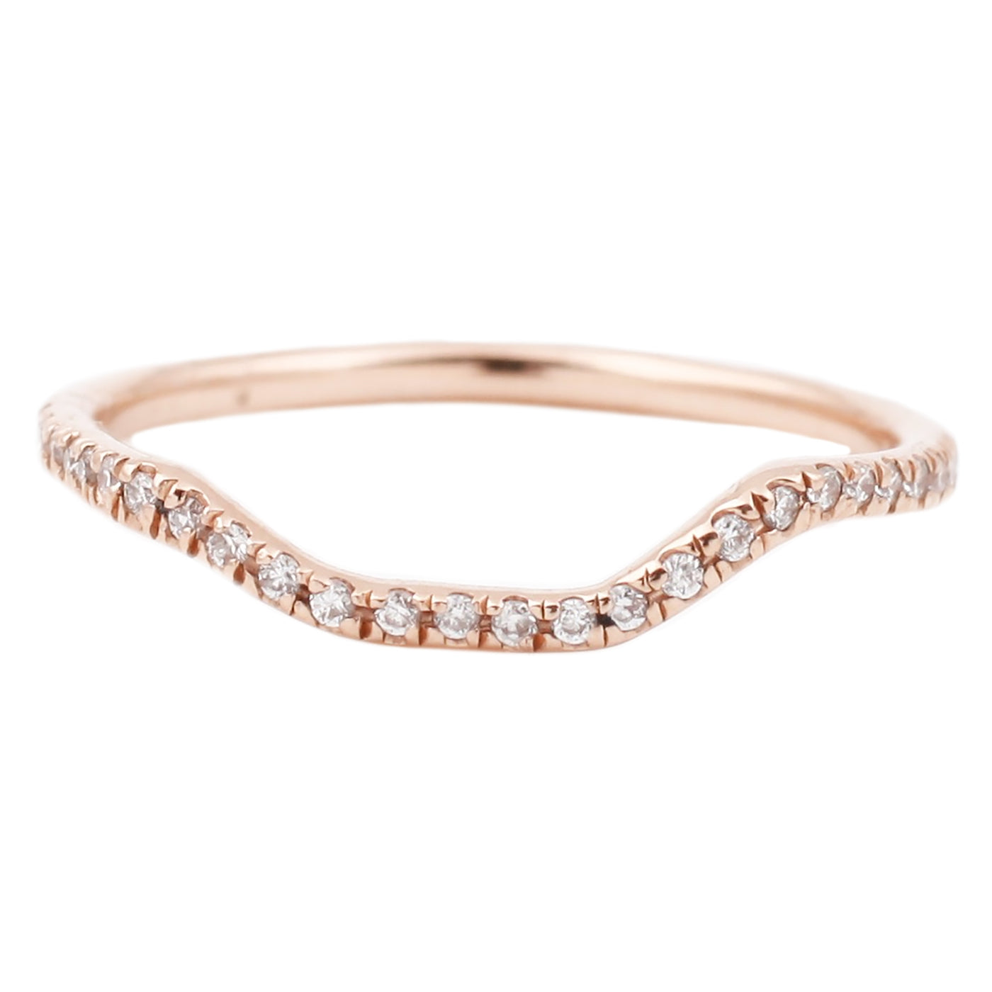Lauren Wolf Rose Gold White Diamond Half Eternity Nesting Band