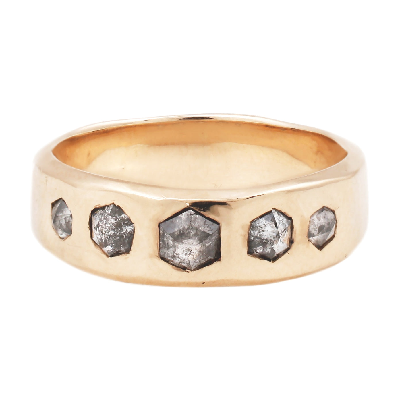 Adeline Gold Quintet Ring with Diamonds