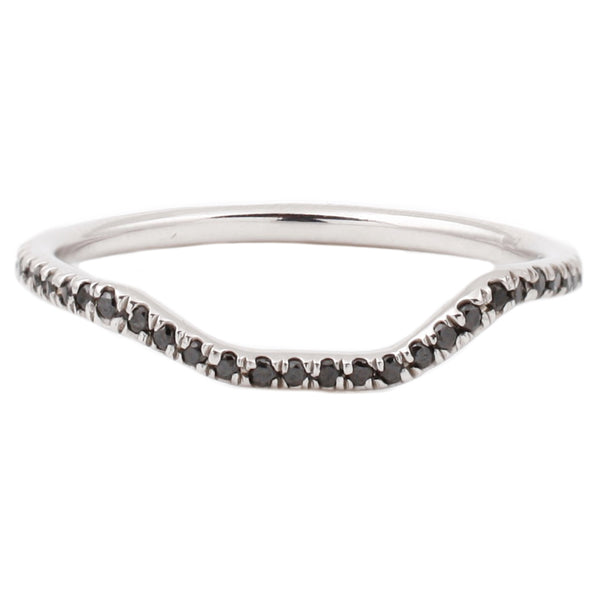 Lauren Wolf White Gold Black Diamond Half Eternity Nesting Band