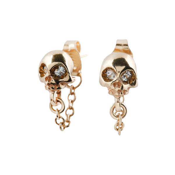 Michael Spirito Gold Skull + Chain Earrings