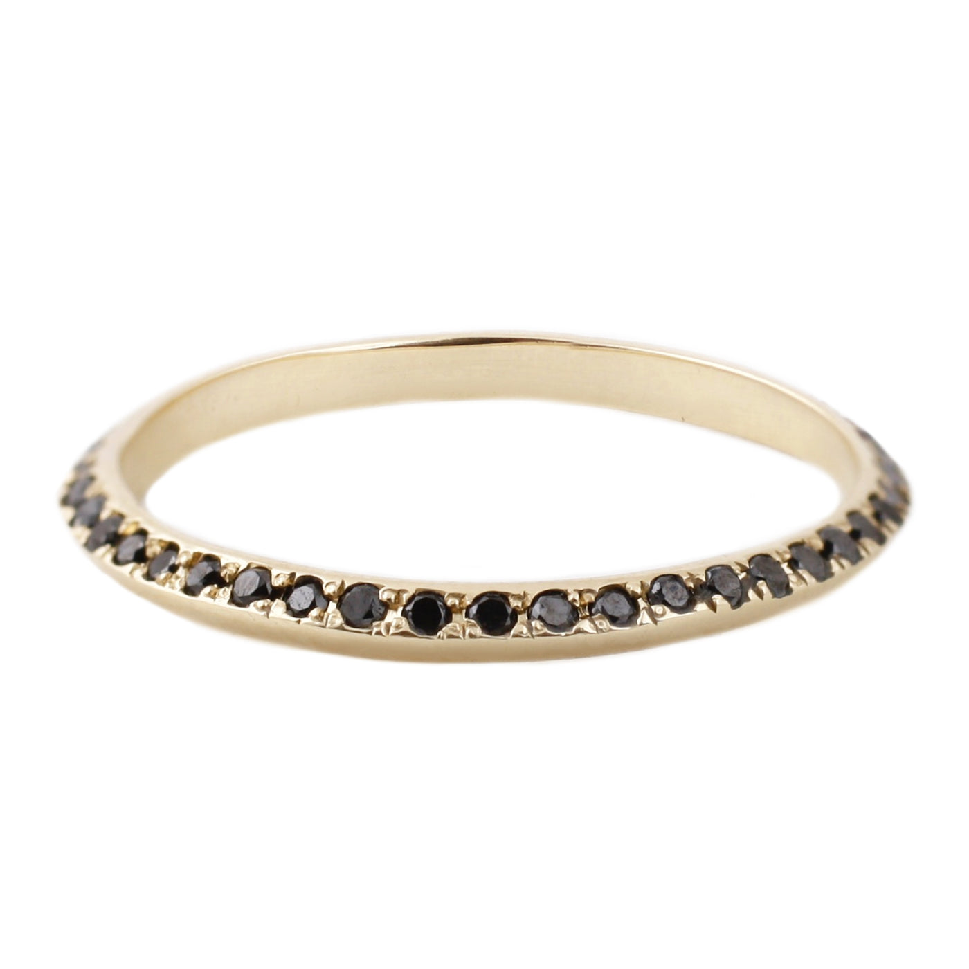 Adeline Gold Saturn Ring with black diamonds