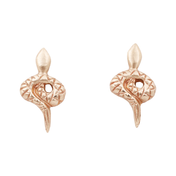 Rebecca Overmann Gold Snake Stud Earrings