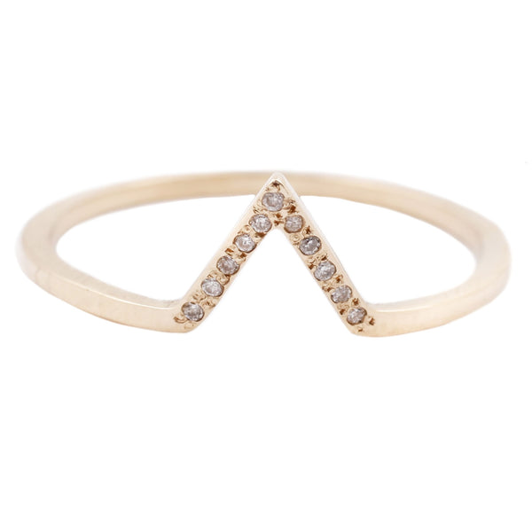Split Love Nesting Ring - Yellow Gold White Diamonds - T.Kahres Jewelry