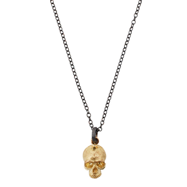 Anthony Lent Gold Skull Pendant Necklace