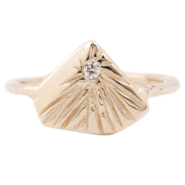 Communion By Joy Star Pyramid Ring Gold with a White Diamond