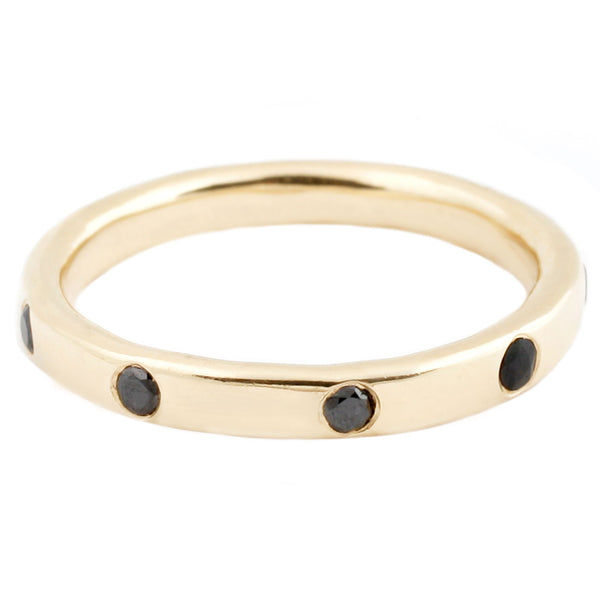 Lauren Wolf Yellow Gold Nine Black Diamond Band