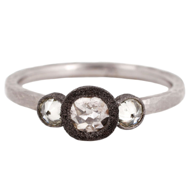 Three Diamond Bezel Ring