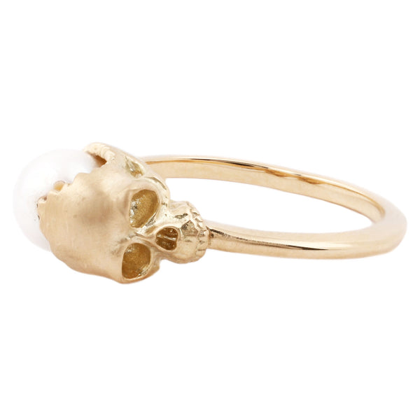 Anthony Lent Open Skull Pearl Ring