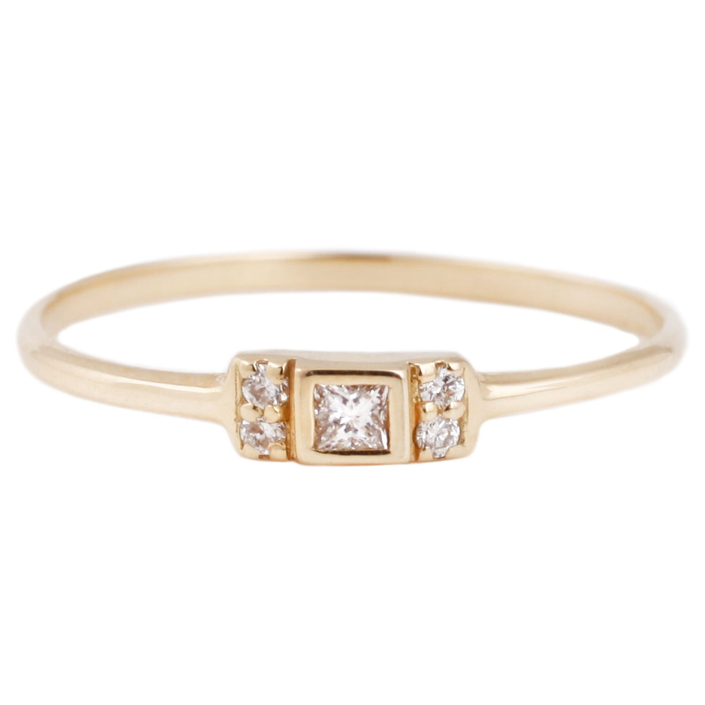 Aili Gold Vivian Ring with white diamonds