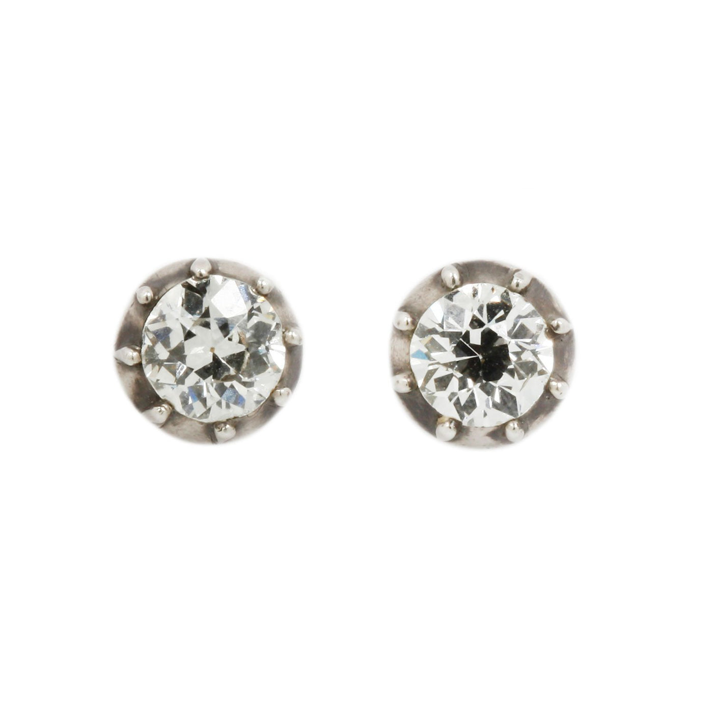 Vintage Gold and Silver Diamond Studs