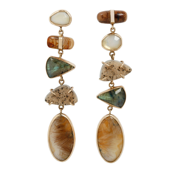 Multi Stone Gold Drop Earrings