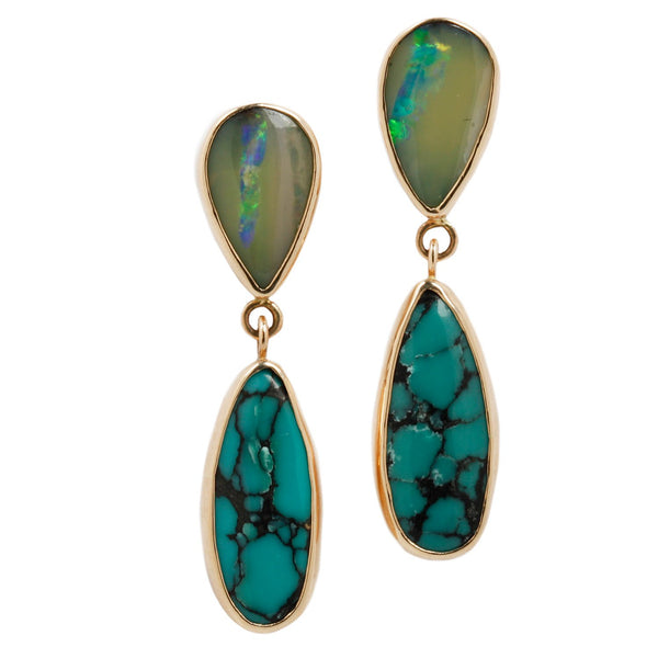 Opal And Turquoise Drop Earrings