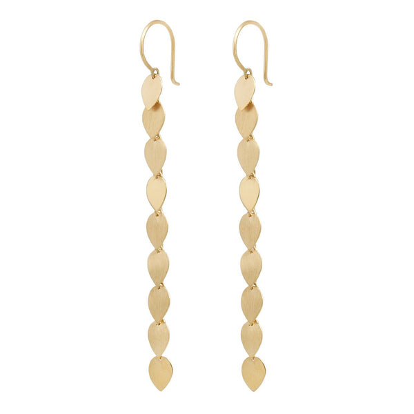 Sia Taylor Long Gold Petal Earrings