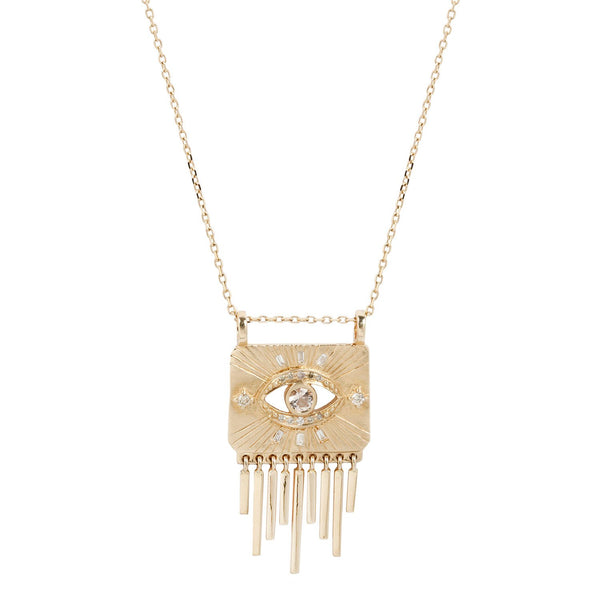 Celine D'Aoust White Sapphire and Diamond Eye Fringe Necklace