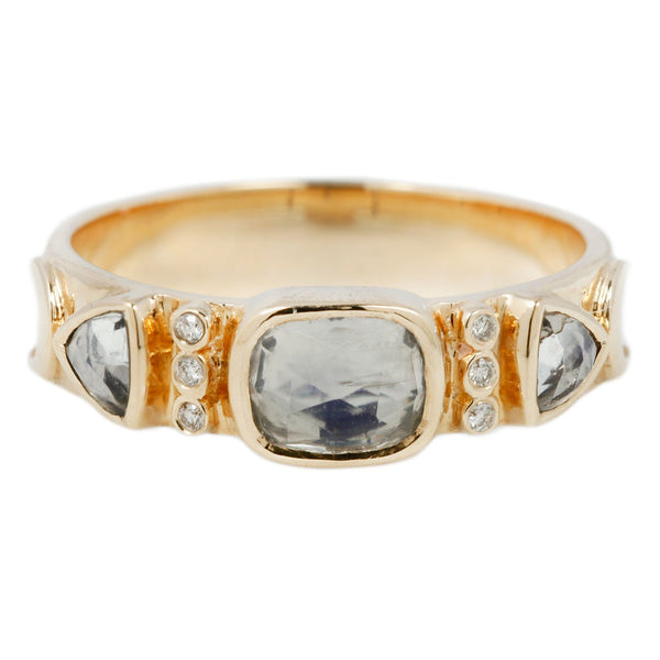 Celine D'Aoust Moonstone and Diamond Crescent Totem Ring