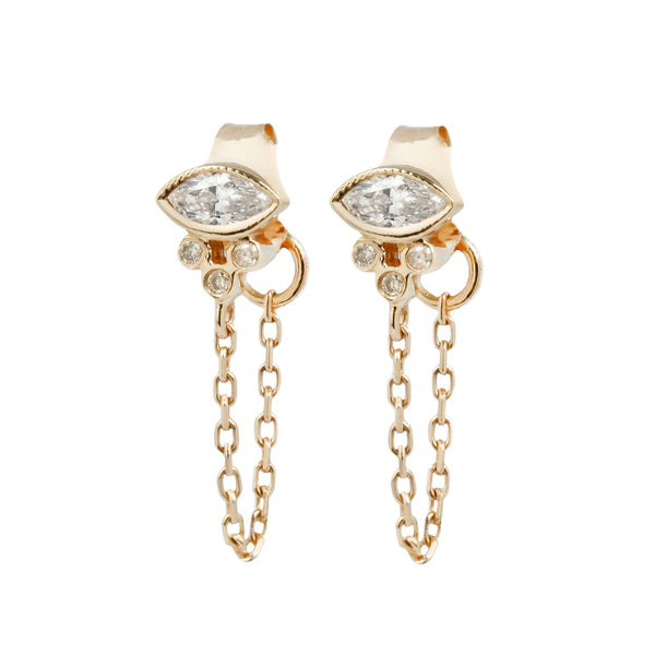 Celine D'Aoust Marquise Diamond Chain Earrings
