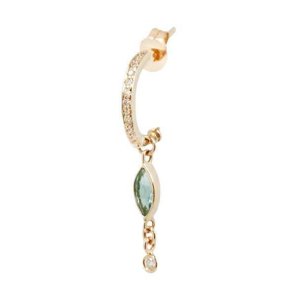 Celine D'Aoust diamond hoop and green tourmaline earring