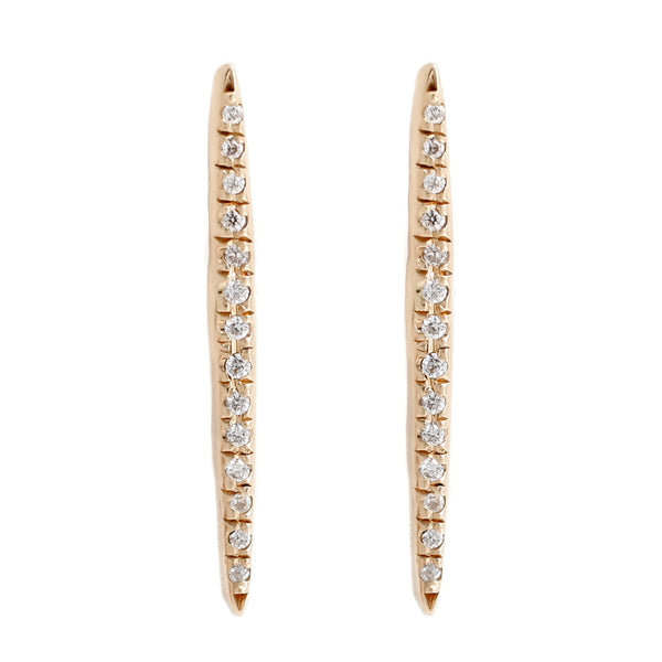 Adeline Gold Pavé Stick Stud Earrings with White Diamonds