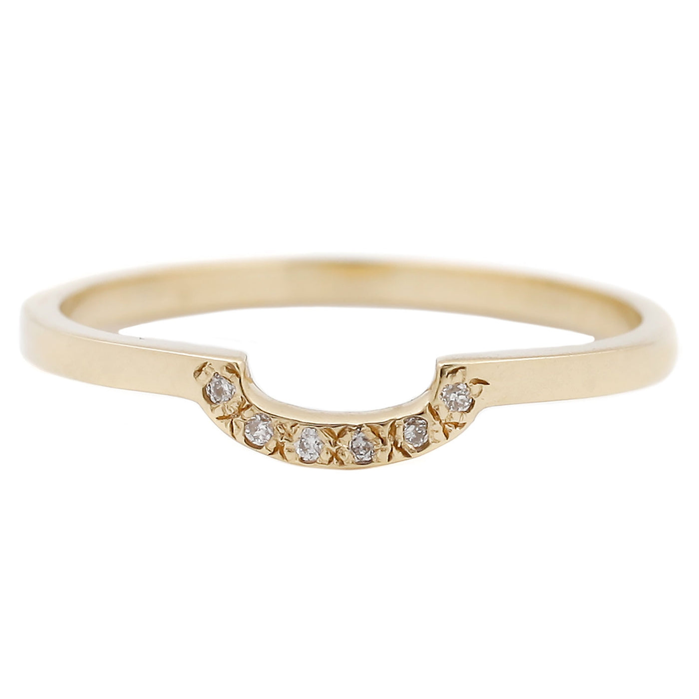 Aili Gold with Diamonds Half Moon Band Ring