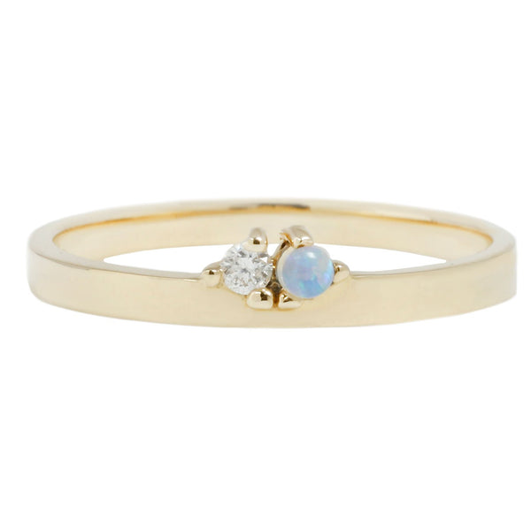 Wwake Overton Band Opal Diamond Gold