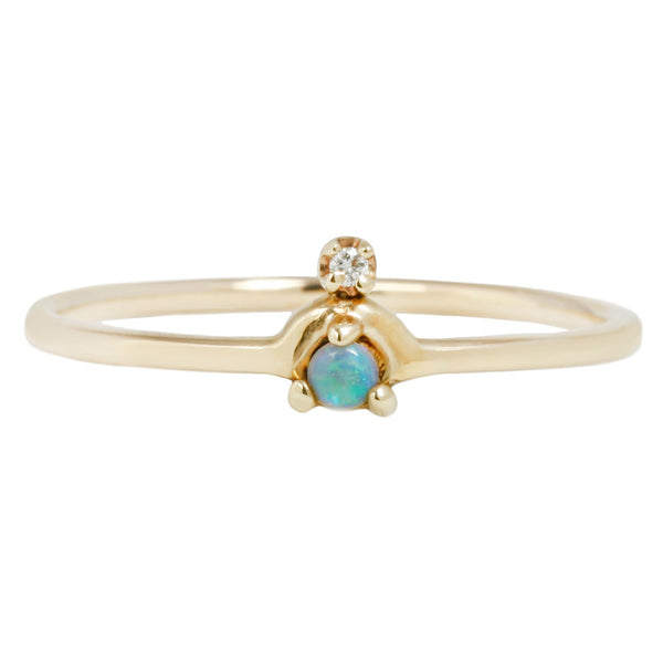 Wwake Mini Nestled Ring Opal Diamond Gold