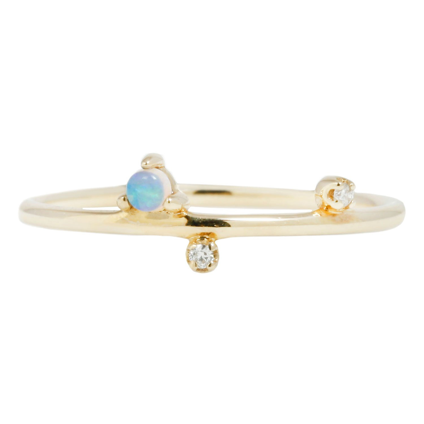 Wwake Mini Three Step Ring Opal Diamond Gold