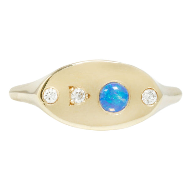 Wwake Gold Opal and Diamond Signet Ring