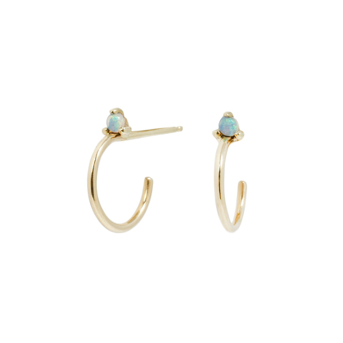 Wwake Mini Opal Hoop Studs Yellow Gold