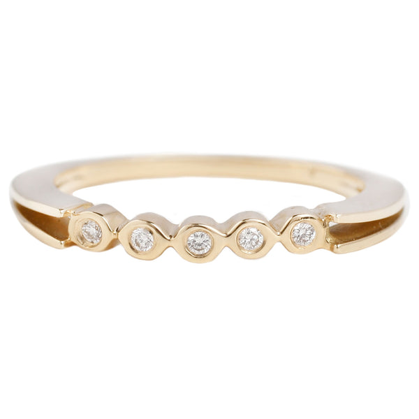 Sparks Ring in Yellow Gold With Five Round White Diamonds - T. Khares Jewelry