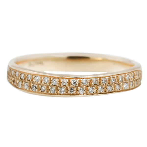Rebecca Overmann Double Row Eternity Band Yellow Gold White Diamond