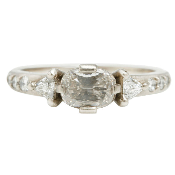 Rebecca Overmann Oval and Trillions Diamond Ring White Gold
