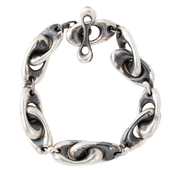 TenThousandThings Oxidized and Polished Sterling Silver Puffy Link Bracelet