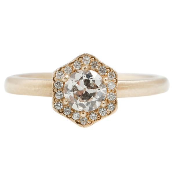 Rebecca Overmann Hexagon Halo Diamond Ring in Yellow Gold