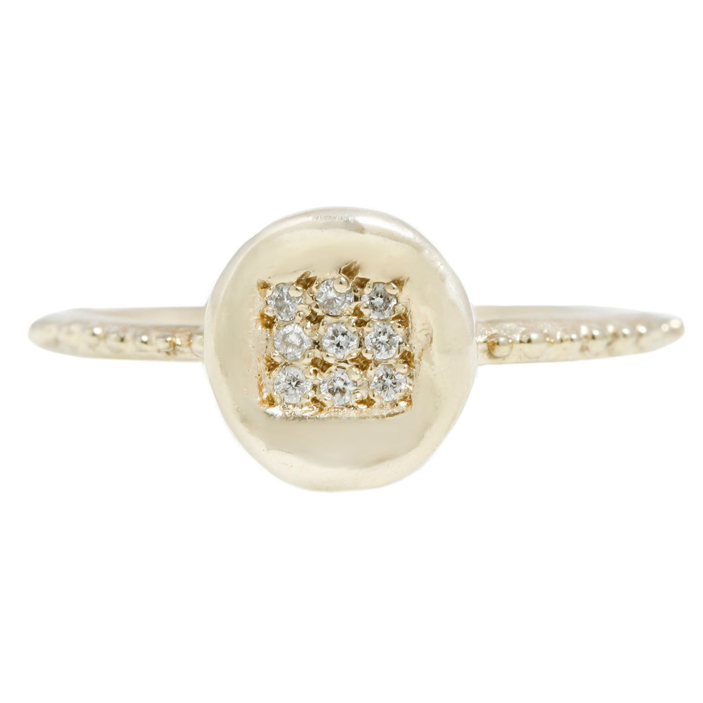 Pave Button Ring